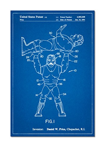 PatentPrints Hulk Hogan Wrestling Action Figure Patent Poster Color Blueprint Size 24x36