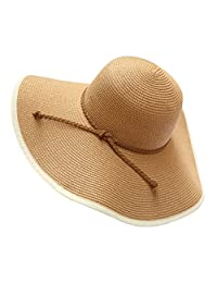 Urban CoCo Women's Wide Brim Caps Foldable Sun Straw Hats Summer Outdoor Beach