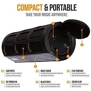 Alpatronix Waterproof Bluetooth Speaker Portable Rechargeable 12W Stereo Shockproof & Dustproof Wireless Speaker w/ Built-in Mic, Controls & Subwoofer for Bicycles, Smartphones & Computers - Black