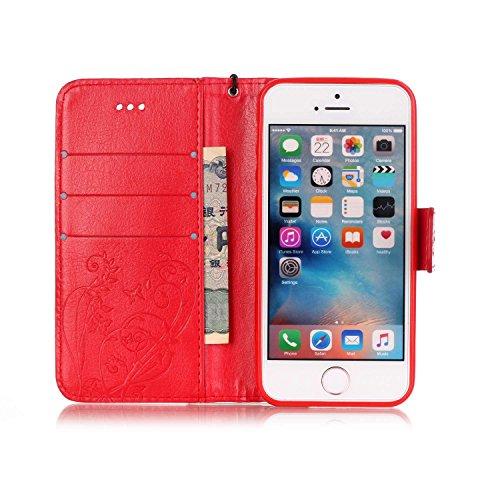 JIALUN-carcasa de telefono Con la ranura para tarjeta, cordón, presión Hermoso patrón de moda abrir el teléfono celular Shell para IPhone 5 5S SE ( Color : Pink , Size : IPhone 5S SE ) Red