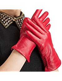 Nappaglo Nappa Leather Gloves Warm Lining Winter Embroidered Lambskin for Women