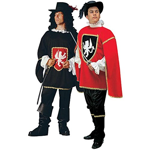 Adult Red Musketeer Halloween Costume (Size: Standard 42-46) ()