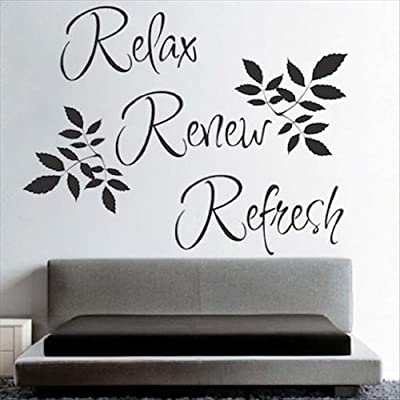 Dailinming PVC Wall Stickers Relax Refresh Renew Bathroom Wall Quote Art Vinyl Decal Sticker Removable 61X86CM