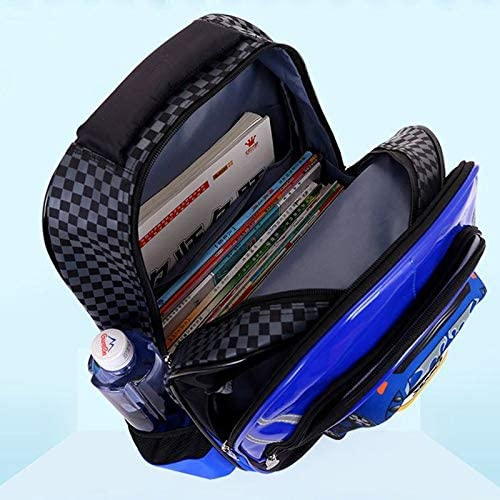 Ly-lgb New Boys car six Rounds of Stairs Trolley Bag Schoolboy Shoulder Cartoon Childrens Bag Waterproof Color : Blue, Edition : 2 Rounds