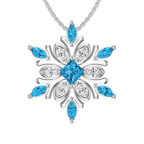 Belinda Jewelz 925 Solid Real Sterling Silver Sparkling Snowflake Hanging Marquise Gemstone Rhodium Plated Womens Fine Jewelry Chain Necklace Pendant, Swiss Blue and White Topaz, 1.35 carats, 18-inch