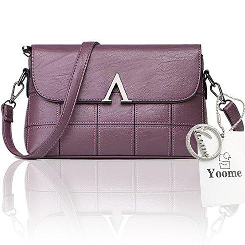 Yoome Mujeres Elegante Messenger Flap Pure Color Gran Capacidad Vintage Crossbody Bolsos Hombro - Púrpura Púrpura