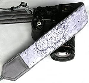 World Map Camera Strap. Photo camera Accessories. SLR, DSLR Camera Strap. Gift For Photographer; 175