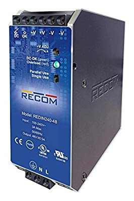 RECOM POWER REDIN240-48 AC/DC DIN Rail Power Supply Adjustable Fixed 1 Output 85 V 264 V 240 W 48 V