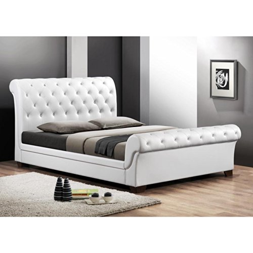 Baxton Studio CF8231-QUEEN-WHITE Leighlin Button Tufted Modern Sleigh Bed with Upholstered Headboard, Queen, White