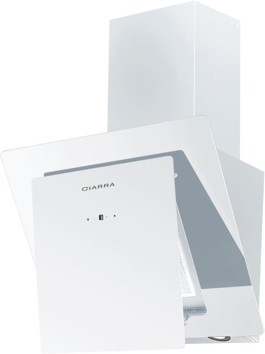 Campana extractora de cocina de cristal blanco, en ángulo, 60 cm de Ciarra: Amazon.es: Grandes electrodomésticos