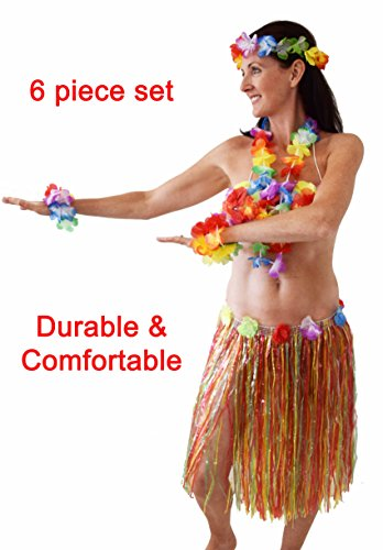 Hawaiian Hula Costume for Women and Girls, Hawaiian Party Costume, Luau Outfit, Hula Party Costume, Grass Skirt ()