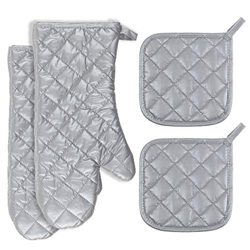 Buzhan Ovenmitts and Potholders Set,1 Pair of Quilted Cotton Lining Oven Mitts and 2pcs Set Cotton Pot - Pot Oven Holder 1 Mitt