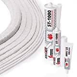 STEIGNER Ceramic Rope Cord SKD01-12 2 m 12x12 mm With Thermal Adhesive Sealant Temperature Resistant Up To 1260°C or 2300°F