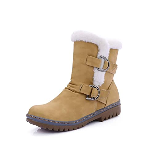 Botas de Nieve para Mujer Botas Artificial PU Otoño/Invierno Botines de tacón Plano Ocasionales