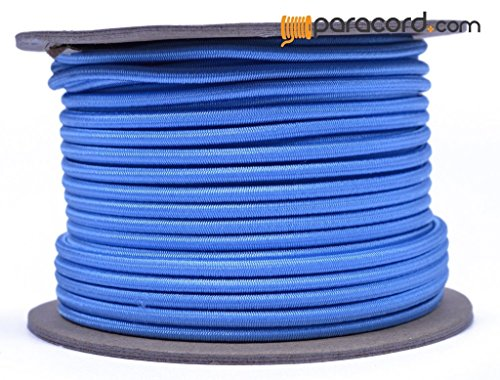 Tarheel Blue 1/8'' Shock Cord - BORED PARACORD Marine Grade Shock / Bungee / Stretch Cord 1/8 inch x 100 feet Several Colors - Made in USA by BoredParacord
