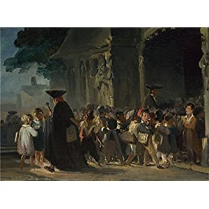 The Polyster Canvas Of Oil Painting 'Nicolas Toussaint Charlet Children At A Church Door ' ,size: 24 X 33 Inch / 61 X 83 Cm ,this Reproductions Art Decorative Prints On Canvas Is Fit For Powder Room Artwork And Home Decor And Gifts