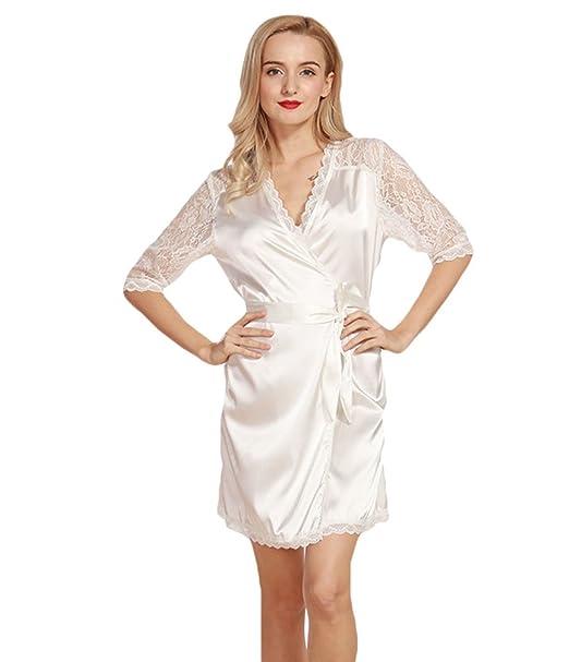 WanYang Mujer Pijama Conjunto Seda Escote V De Seda Camisón Pijamas Ropa De Dormir Y Loungewear