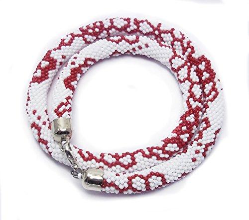 HANDMADE Valentines day gift for her red white flower jewellery Monochrome beaded choker necklace crochet rope ethnic jewelry ukrainian