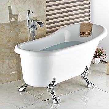 Chrom Poliert Wasserfall Auswurfkrummer Freistehende Badewanne Armatur Wasserhahn Einzigen Griff Mit Handdusche Whirlpool Fuller Amazon De Baumarkt