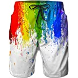 a37822fdc0 Idgreatim Mens Outdoor Beach Shorts Gay Pride Surfing Board Shorts Casual  Style Swim Trunks L