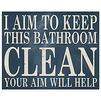 Amazon Com Meijiafei I Aim To Keep This Bathroom Clean Wood