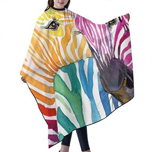 - PNNUO Salon Barber Cape Hair Cutting Apron Zebra Rainbow with Snap Closure Waterproof Professional Hairdressing Cover Equipment for Kids Styling