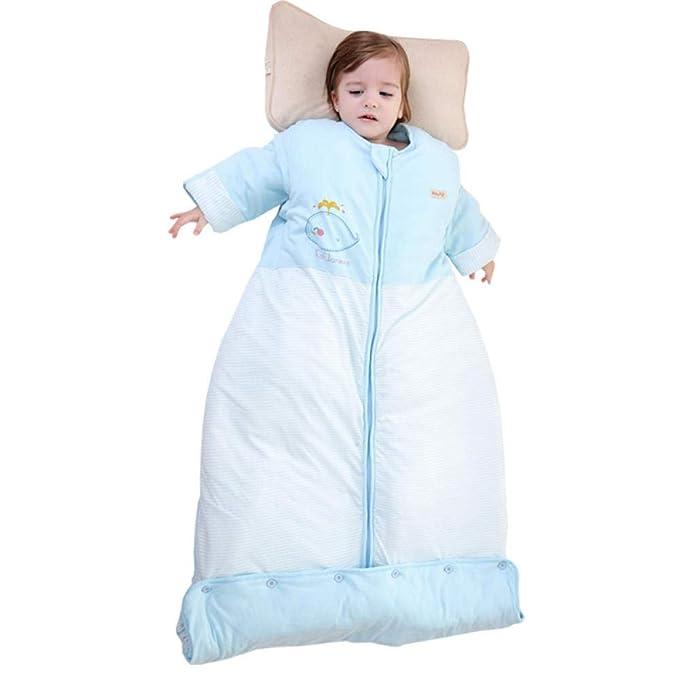 NEWELLYY Saco Antideslizante para Dormir orgánico,Saco de Dormir de algodón para bebé, edredón Anti-Patada para niños otoño/Invierno-Azul_90cm,Bebé Manta Portátil Saco De Dormir Bebé: Amazon.es: Hogar