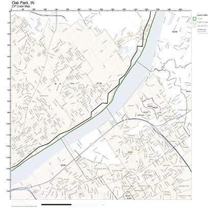 Oak Park Zip Code Map.Amazon Com Zip Code Wall Map Of Oak Park In Zip Code Map Not