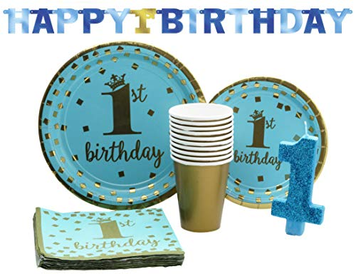 1st Birthday Boy Pack! Disposable Gold-Trimmed Paper Plates, Banner, Candle, Napkins and Cups Set for 15 (With free extras) Birthday Boy Dinner Plate