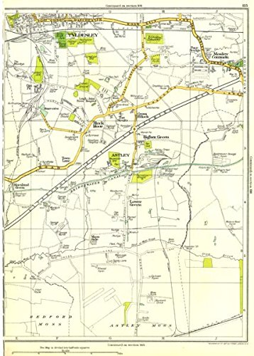 LANCASHIRE:Bedford Moss,Astley Moss,Lower Green,Astley,Tyldesley 1935 old map