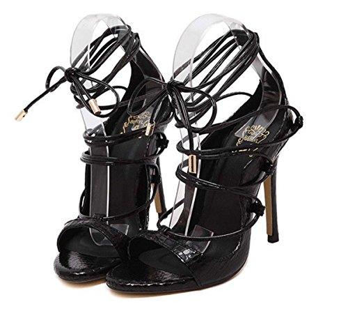 Sandales À Bout À Or Talons Sandales Taille Ouvert Sandales À Brides Black Grande zBqFxwdRF