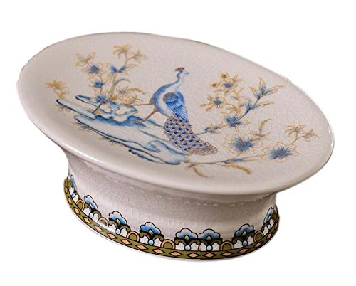 Panda Superstore European Style Retro Ceramic Soap Box Oval Soap Holder for Bathroom, Peacock (Style Soap Dish European)