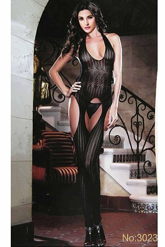 5834cf6fe2e Amazon.com  Sexy Black Lace Fabrics Opaque Bodystocking Bodysuit ...