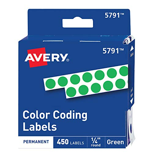 Avery Permanent Color Coding Labels, 0.25 Inches, Round, Green, Pack of 450 (5791) (Labels Coding Permanent Color)