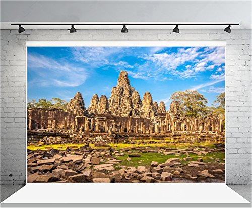 AOFOTO 7x5ft Bayon Temple Backdrop Buddhism Angkor Wat Photography Background South East Asia Ancient Architecture Cambodia Siem Reap Travel History Culture Photo Shoot Studio Props Video Drop Drape