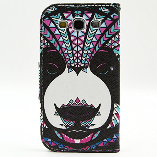 S3 Case,Galaxy S3 Wallet CASE - Head Case Designs Bear Aztec Animal Faces Pattern Premium PU Leather Wallet Case Stand Cover with Card Slots Cash Compartment for Samsung Galaxy S3 i9300 + CoolGiftCase Stylus