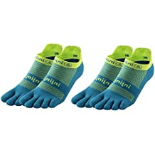 Injinji Unisex Run Midweight Padded Cushioning No Show Toesocks Bundle (2 Pair)