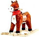 Baybee Unicorn Horse Mini Wooden Rocker for Kids (Gold)