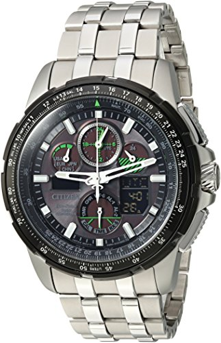 SKYHAWK AT:Redefine atomic timekeeping with radio-controlled accuracy in 4 zones combined with Eco-Drive technology. World time in 43 cities, 1/100 second chrono up to 24 hours, perpetual calendar, 99-minute countdown timer, power reserve & 2 ala...