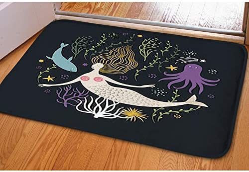 Door Mat Indoor Area Rugs Living Room Carpets Home Decor Rug Bedroom Floor Mats,Cute Mermaid sea Life