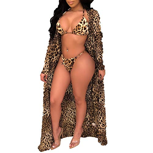 (Women 3Piece Leopard Print Bikini Set,Spaghetti Straps Bra+Long Sleeve Cover Up Bathing Swimsuit (XL,)