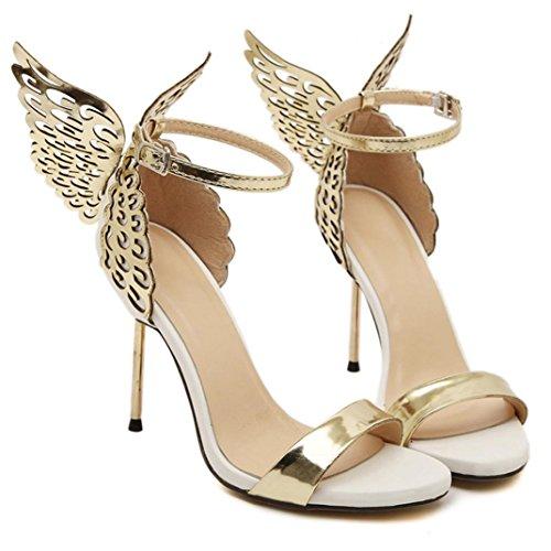 Outstaレディースバレンタイン靴バタフライFlying BronzingスパンコールBigリボン付きハイヒールサンダル夏ドレスシューズ US:7.5 ゴールド SWS-21