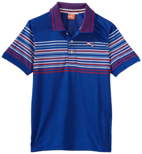 (Puma Golf Boy's Tech Wrap Stripe Polo Tee, Surf The Web Blue, Small)