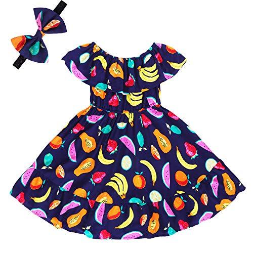 Girls Floral Ruffle Dress Kids Cold Shoulder Flutter Maxi Dress Party Summer Girl Clothes Sleeveless Boho Sundress Toddlers Beach Long Dress Fruit Print 01 2-3 Years ()