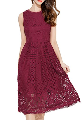 VEIIASR Womens Fashion Sleeveless Lace Fit Flare Elegant Cocktail Party Dress (Medium, Red Wine)