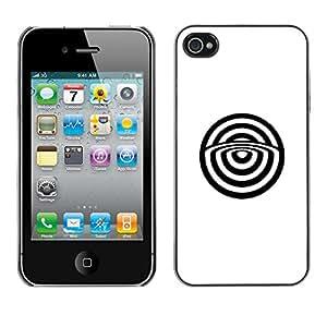 GOODTHINGS Funda Imagen Diseño Carcasa Tapa Trasera Negro Cover Skin Case para Apple Iphone 4 / 4S - blanco resumen toros minimalista ojo