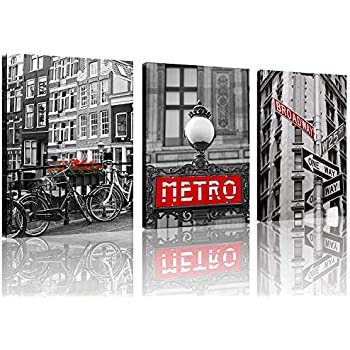 TutuBeer Black and White Vintage New York City Canvas Red Broadway Sign Canvas Red Metro Europe Black and White with Red Old Bicycles Flowers Wall Art Decor Canvas Framed Ready to Hang,3pcs/Set