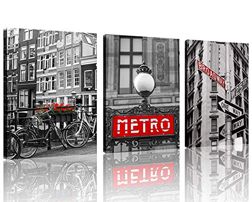 TutuBeer Black and White Vintage New York City Canvas Red Broadway Sign Canvas Red Metro Europe Black and White with Red Old Bicycles Flowers Wall Art Decor Canvas Framed Ready to Hang,3pcs/Set]()