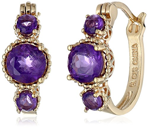 18K Gold-Plated Sterling Silver and African Amethyst Hoop Earrings