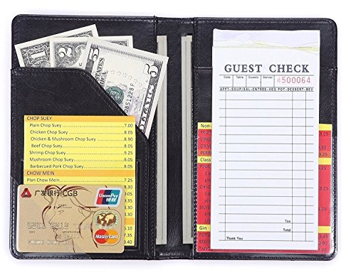 Mymazn Waiter Book Server Wallet Server Pads Waitress Book Restaurant Waitstaff Organizer, Guest Check Book Holder Money Pocket Fit Server Apron (Black)